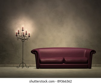 Sofa and candle light