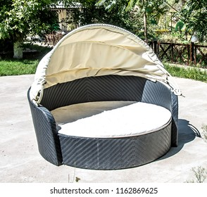 Sofa with canopy in the open air