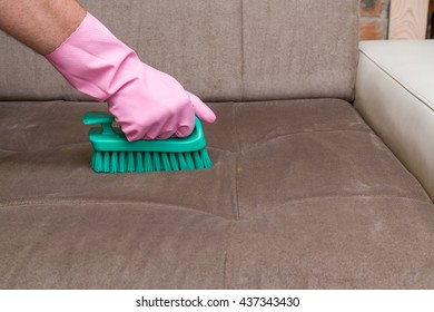 Sofa Chemical Cleaning With Professionally Brush. Upholstered Furniture.  Early Spring Cleaning Or Regular Clean