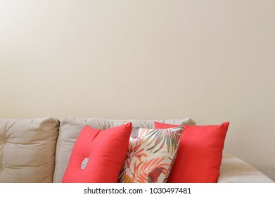Sofa and colorful pillows details of home interior decoration