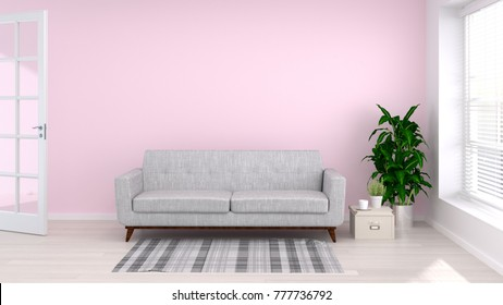 Simple Living Room Sofa Front Pink Stock Illustration 745575721 ...