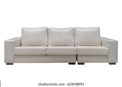 sofa of cream leather isolated on white background