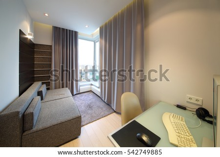 Sofa Front Bay Window Curtains Desk Stock Photo Edit Now 542749885