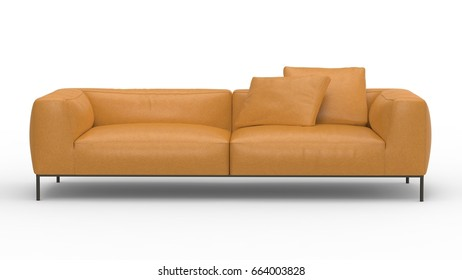 Sofa front view. 3D Rendering icon for interior floorplans. Concept model.