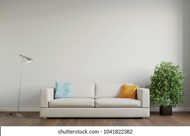 sofa in front of wall with copy space for pictures 3d rendering