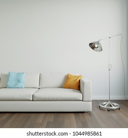 Sofa in front of wall with copy space 3d rendering