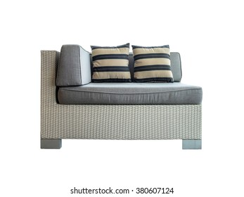 Sofa grey tone with pillow, isolated