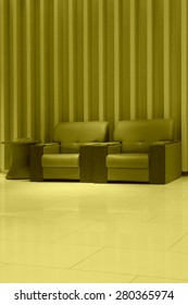 sofa in the hotel lobby, closeup of pictures