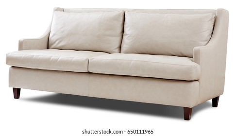 Sofa isolated. Brown fabric.