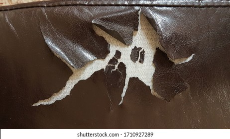 sofa leather torn tear brown for background