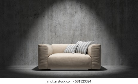 Sofa in light in front of a concrete wall 3d rendering