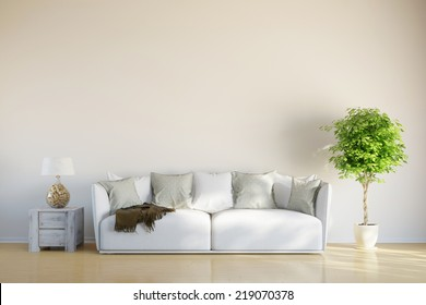 Sofa in living room with space on the wall for picture canvas