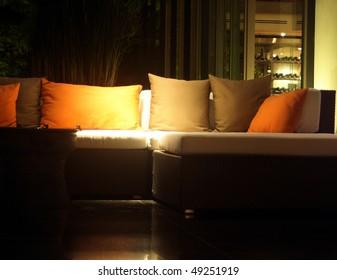 Sofa in a lobby of a luxury hotel