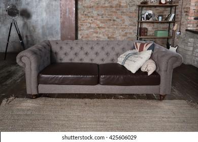 Sofa in a loft style interior