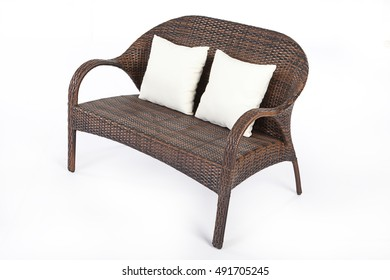 Sofa made of synthetic fibre on isolated background