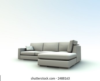 sofa in neutral tones on a white background