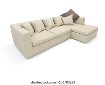Sofa on white background.  It's 3D image