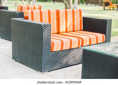 Sofa with outdoor patio decoration exterior of home - Vintage light Filter