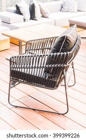 Sofa pillow and chair decoration with outdoor patio - Vintage Light Filter