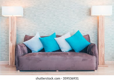 Sofa and pillow decoration in livingroom interior - Vintage filter