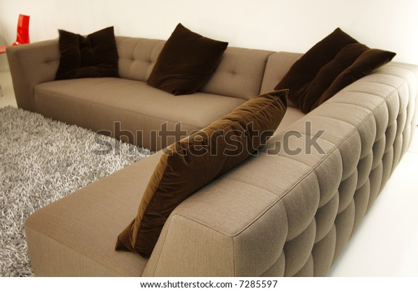 Sofa Set with cushions in a Living Room