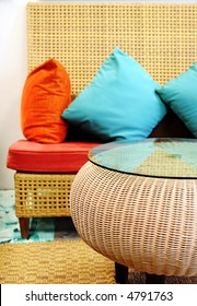 Sofa and table in modern colors - home interiors.