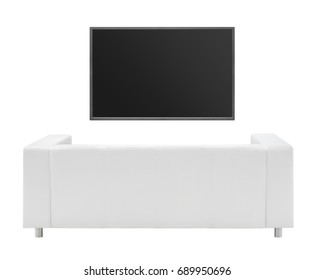 sofa and a TV isolated on white background
