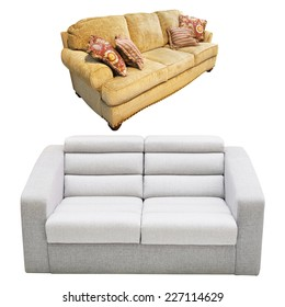 sofa under the white background