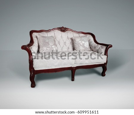 Sofa White Fabric Retro Style Wooden Stock Photo Edit Now