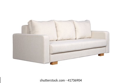 A sofa with white fabric upholstery isolated on white background
