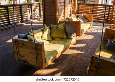 sofas with cushions on the terrace