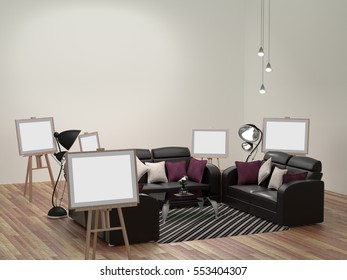 Sofas, lamps, picture frames stand in a white wooden floor. 3d rendering