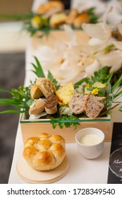 sofe pastr bread prepared on facy fine dining table