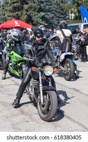 Sofia, APRIL 1: Participants in the motorcycle procession on April 1, 2017 in Sofia, Bulgaria