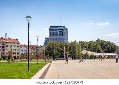 SOFIA, BULGARIA - 01 Sep 2018: Park National Palace of Culture in Sofia
