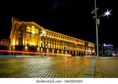 Sofia, Bulgaria - 07.25.2019: Sofia at night,  Independence square