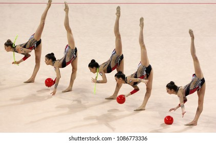 Sofia, Bulgaria - 1 April, 2018: Team Italy performs with balls and ropes during Rhythmic Gymnastics World Cup Sofia 2018. Group tournament.