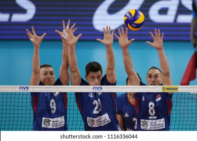Sofia, Bulgaria - 1 June, 2018: Team of Bulgaria plays against team of Serbia (pictured) during FIVB Volleyball Nations League in Sofia.