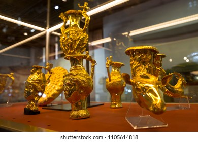 Sofia, Bulgaria - 1 May 2018: Panagyurishte Treasure consists of a phiale, an amphora, three oinochoai and four rhytons with total weight of 6.164 kg of 24-karat gold.