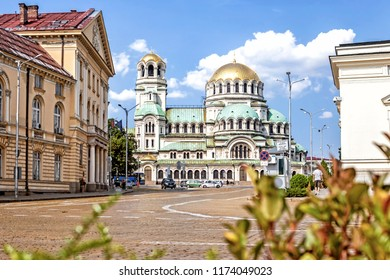 SOFIA, BULGARIA - 1 Sep 2018: The Alexander Nevsky Cathedral and the streets in the downtown of Sofia