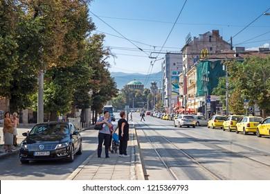 SOFIA, BULGARIA - 1 Sep 2018: Knyaginya Maria Luiza Bulevard in the downtown of Sofia