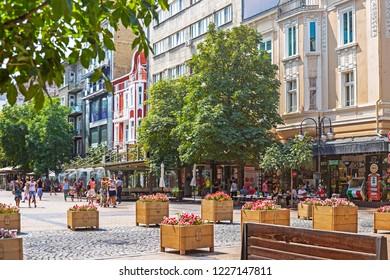 SOFIA, BULGARIA - 1 Sep 2018: Vitosha Boulevard, the main commercial street in the centre of Sofia, abundant in posh stores, restaurants and bars