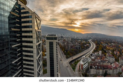 Sofia, Bulgaria - 11 November 2017: Beautiful panoramic view over Sofia cityscape at sunset