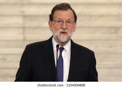 Sofia, Bulgaria - 15 May 2018: Prime minister of Spain Mariano Rajoy attends to a press conference after meeting his Bulgarian counterpart Boyko Borissov.