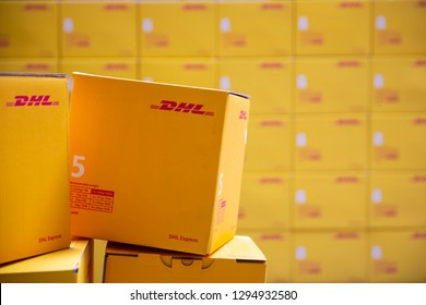 Sofia, Bulgaria - 17 October, 2018: Yellow DHL Express packages are seen arranged in a warehouse.