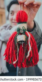 Sofia- Bulgaria - 2020- February - 19, Martenitsa the traditional icon in bulgaria march