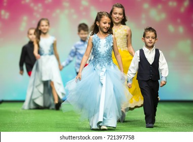 17ceac3a1 Sofia, Bulgaria - 21 March 2017: Children models walk the runway during the  Sofia