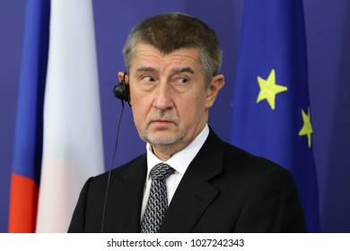 Sofia, Bulgaria - 22 January 2018: Czech Prime Minister Andrej Babis speaks at a press conference after meating his Bulgarian counterpart at Council of Ministers.