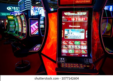 Sofia, Bulgaria - 22 November 2017: Slot machines are seen in a casino equipment exhibition in Sofia. People have the possibility to test them for free.