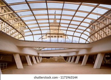 SOFIA, BULGARIA - 27 Aug 2018 : Entrance to the underground station Serdika, a modern building with a glass ceiling preserving the historical ruins of the ancient Roman city